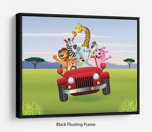 Animal Cartoon in red car Floating Frame Canvas
