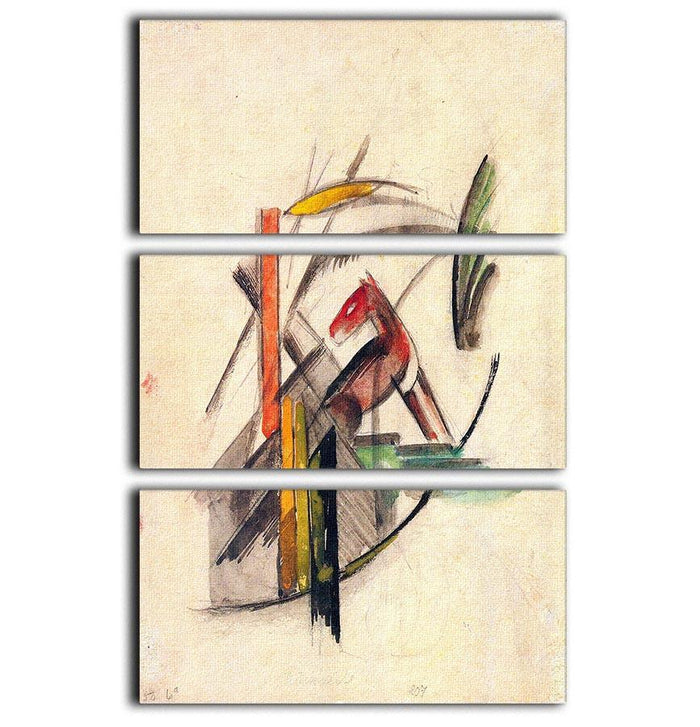 Animal by Franz Marc 3 Split Panel Canvas Print