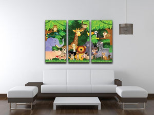 Animal cartoon 3 Split Panel Canvas Print - Canvas Art Rocks - 3