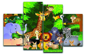 Animal cartoon 4 Split Panel Canvas  - Canvas Art Rocks - 1