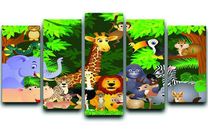 Animal cartoon 5 Split Panel Canvas  - Canvas Art Rocks - 1