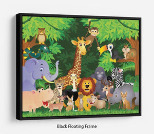 Animal cartoon Floating Frame Canvas