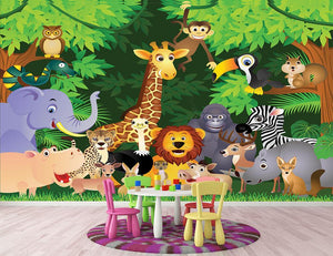 Animal cartoon Wall Mural Wallpaper - Canvas Art Rocks - 2