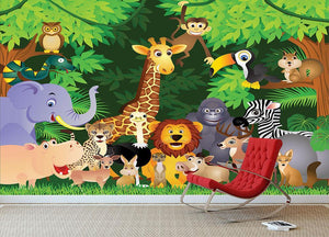 Animal cartoon Wall Mural Wallpaper - Canvas Art Rocks - 3