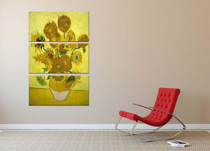 Another vase of sunflowers 3 Split Panel Canvas Print - Canvas Art Rocks - 2