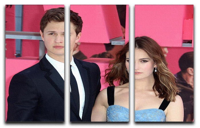 Ansel Elgort and Lily James Baby Driver 3 Split Panel Canvas Print