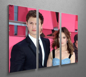 Ansel Elgort and Lily James Baby Driver 3 Split Panel Canvas Print - Canvas Art Rocks - 2