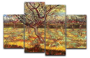 Apricot Trees in Blossom by Van Gogh 4 Split Panel Canvas  - Canvas Art Rocks - 1