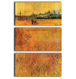 Arles View from the Wheat Fields by Van Gogh 3 Split Panel Canvas Print - Canvas Art Rocks - 1