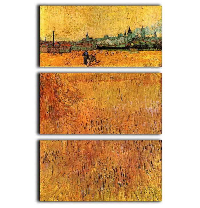 Arles View from the Wheat Fields by Van Gogh 3 Split Panel Canvas Print