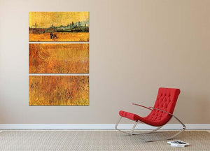 Arles View from the Wheat Fields by Van Gogh 3 Split Panel Canvas Print - Canvas Art Rocks - 2