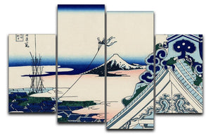 Asakusa Honganji temple by Hokusai 4 Split Panel Canvas  - Canvas Art Rocks - 1