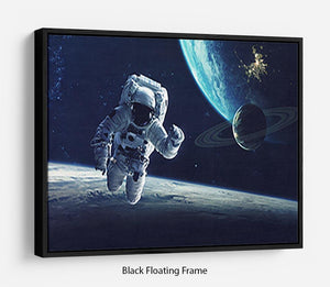 Astronaut at spacewalk Floating Frame Canvas