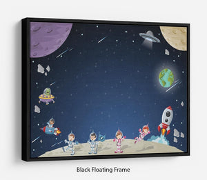 Astronaut cartoon characters Floating Frame Canvas