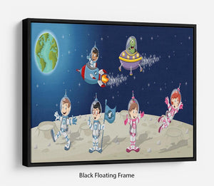 Astronaut cartoon characters on the moon with the alien spaceship Floating Frame Canvas