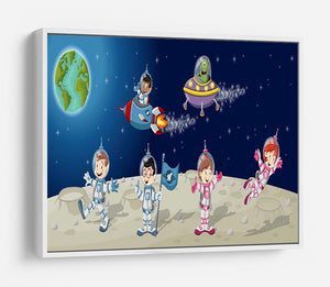 Astronaut cartoon characters on the moon with the alien spaceship HD Metal Print
