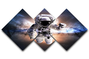 Astronaut in galaxy 4 Square Multi Panel Canvas  - Canvas Art Rocks - 1