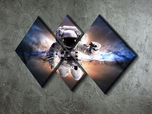Astronaut in galaxy 4 Square Multi Panel Canvas - Canvas Art Rocks - 2