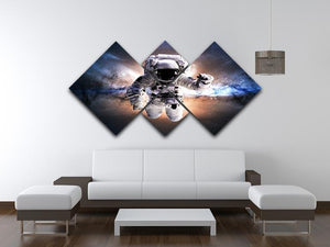 Astronaut in galaxy 4 Square Multi Panel Canvas - Canvas Art Rocks - 3