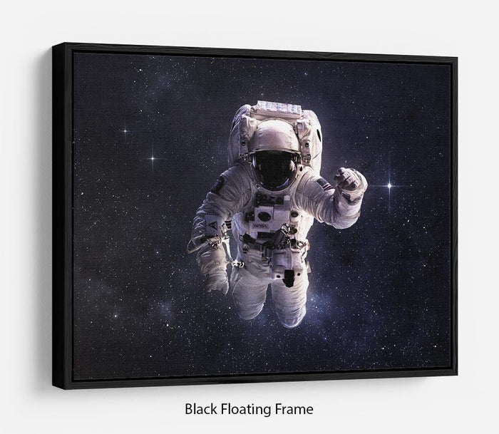 Astronaut in outer space with stars Floating Frame Canvas