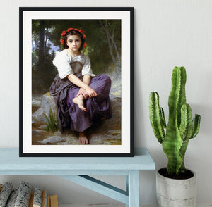 At the Edge of the Brook 2 By Bouguereau Framed Print - Canvas Art Rocks - 1