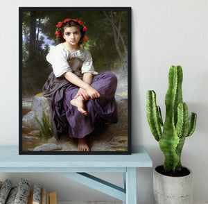 At the Edge of the Brook 2 By Bouguereau Framed Print - Canvas Art Rocks - 2