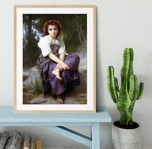 At the Edge of the Brook 2 By Bouguereau Framed Print - Canvas Art Rocks - 3