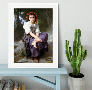 At the Edge of the Brook 2 By Bouguereau Framed Print - Canvas Art Rocks - 5