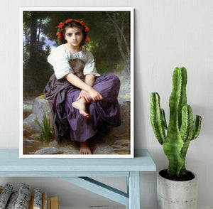 At the Edge of the Brook 2 By Bouguereau Framed Print - Canvas Art Rocks -6
