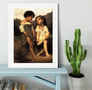 At the Edge of the Brook By Bouguereau Framed Print - Canvas Art Rocks - 5