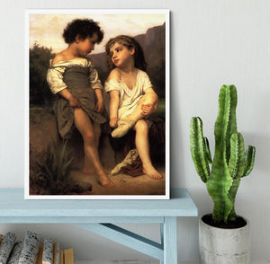 At the Edge of the Brook By Bouguereau Framed Print - Canvas Art Rocks -6