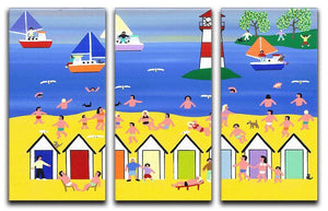 At the beach hut by Gordon Barker 3 Split Panel Canvas Print - Canvas Art Rocks - 1