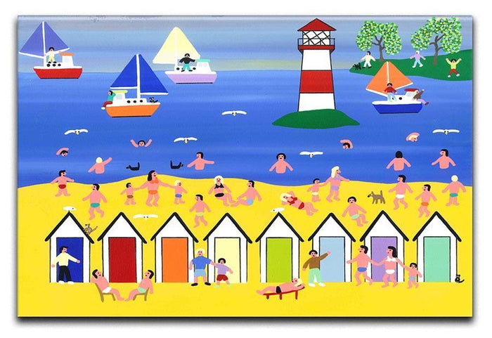 At the beach hut by Gordon Barker Canvas Print or Poster