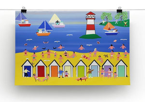 At the beach hut by Gordon Barker Canvas Print or Poster - Canvas Art Rocks - 2