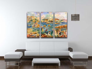 At the beach of Guernesey by Renoir 3 Split Panel Canvas Print - Canvas Art Rocks - 3
