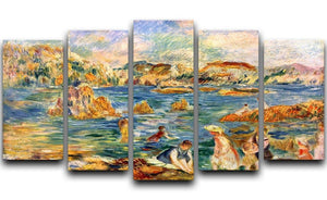 At the beach of Guernesey by Renoir 5 Split Panel Canvas  - Canvas Art Rocks - 1