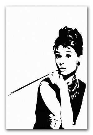 Audrey Hepburn and Cigarette Holder Print - Canvas Art Rocks - 1