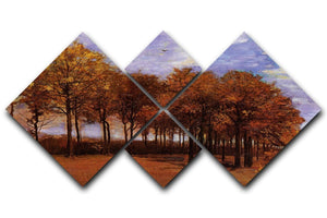 Autumn Landscape by Van Gogh 4 Square Multi Panel Canvas  - Canvas Art Rocks - 1