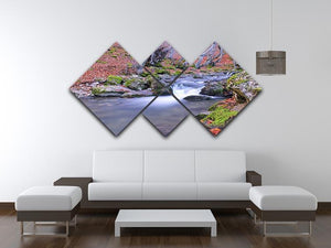 Autumn landscape lake 4 Square Multi Panel Canvas  - Canvas Art Rocks - 3