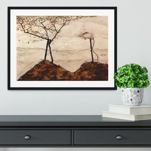Autumn sun and trees by Egon Schiele Framed Print - Canvas Art Rocks - 1