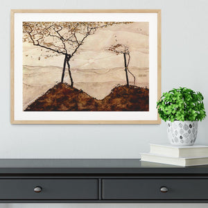 Autumn sun and trees by Egon Schiele Framed Print - Canvas Art Rocks - 3