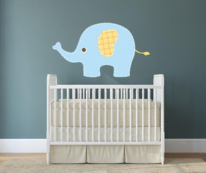 Baby Blue Elephant Wall Sticker - Canvas Art Rocks - 1
