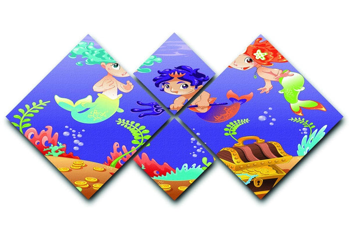 Baby Sirens and Baby Triton 4 Square Multi Panel Canvas