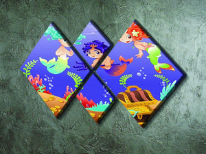 Baby Sirens and Baby Triton 4 Square Multi Panel Canvas - Canvas Art Rocks - 2