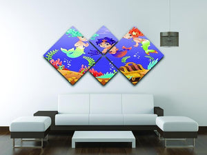 Baby Sirens and Baby Triton 4 Square Multi Panel Canvas - Canvas Art Rocks - 3