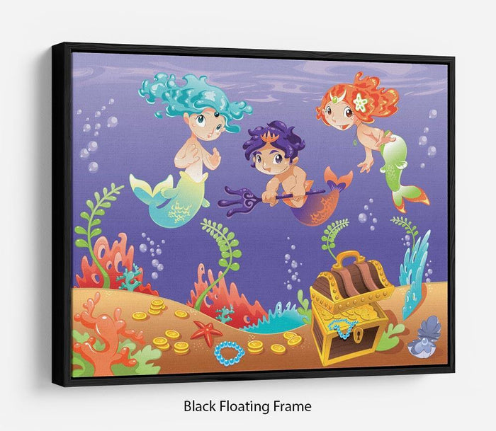 Baby Sirens and Baby Triton Floating Frame Canvas