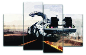 Back To The Future DeLorean 4 Split Panel Canvas  - Canvas Art Rocks - 1