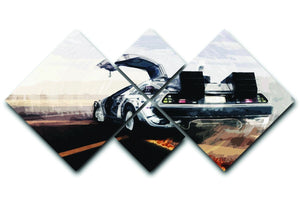 Back To The Future DeLorean 4 Square Multi Panel Canvas  - Canvas Art Rocks - 1