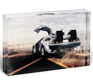 Back To The Future DeLorean Acrylic Block - Canvas Art Rocks - 1