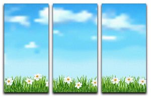 Background with grass and white flowers 3 Split Panel Canvas Print - Canvas Art Rocks - 1